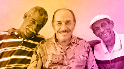 Views support group stock photo with 3 older men
